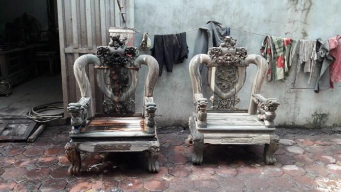 Bộ bàn ghế nghê đỉnh gỗ mun lào14