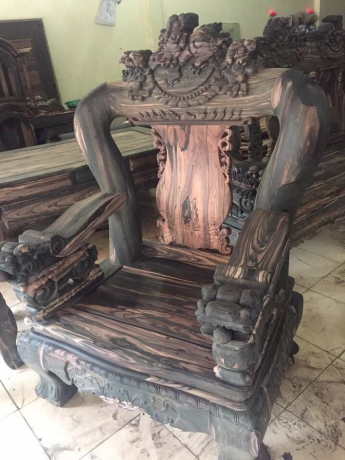 Bộ bàn ghế nghê đỉnh gỗ mun lào0