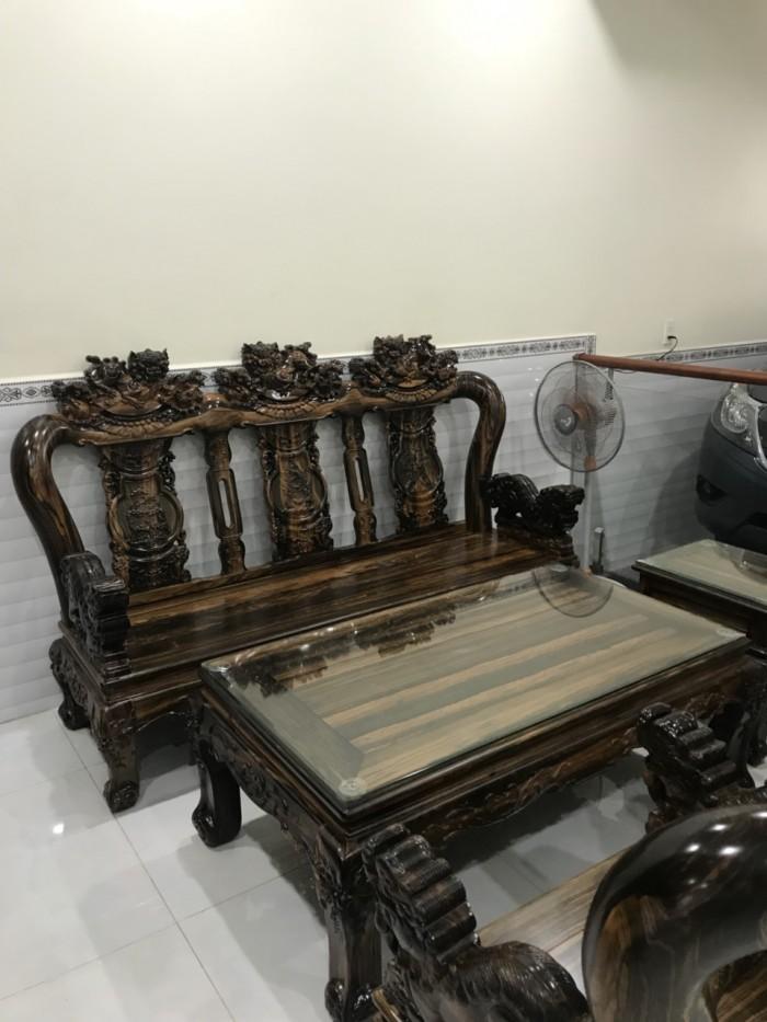 Bộ bàn ghế nghê đỉnh gỗ mun lào5