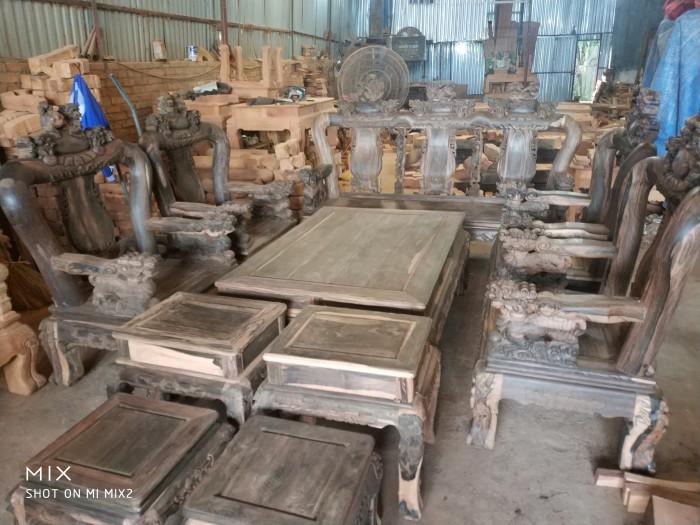 Bộ bàn ghế nghê đỉnh gỗ mun lào13
