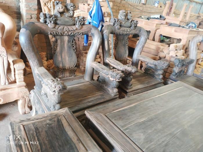 Bộ bàn ghế nghê đỉnh gỗ mun lào7