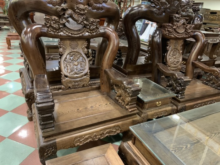 Bộ bàn ghế nghê 3 đầu gỗ mun đuôi công - tay 14 , tay 1615