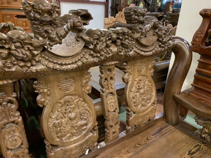 Bộ bàn ghế nghê 3 đầu gỗ mun đuôi công - tay 14 , tay 1612