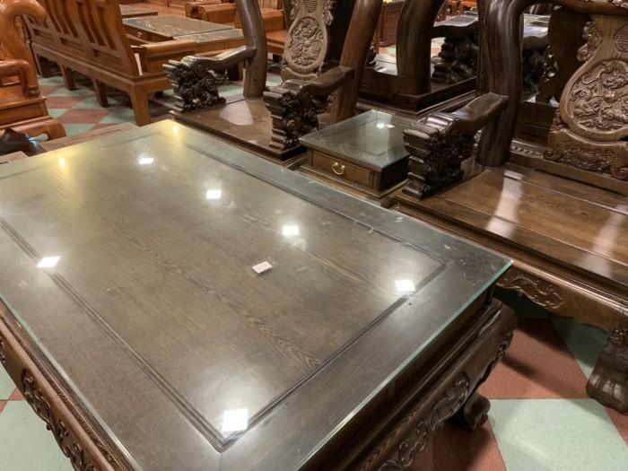 Bộ bàn ghế nghê 3 đầu gỗ mun đuôi công - tay 14 , tay 169