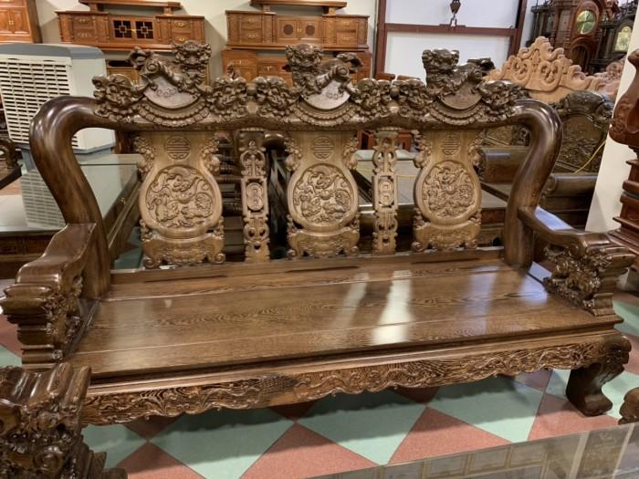 Bộ bàn ghế nghê 3 đầu gỗ mun đuôi công - tay 14 , tay 1611