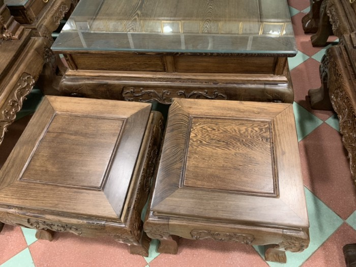 Bộ bàn ghế nghê 3 đầu gỗ mun đuôi công - tay 14 , tay 1619