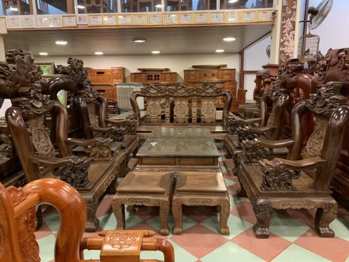 Bộ bàn ghế nghê 3 đầu gỗ mun đuôi công - tay 14 , tay 1610