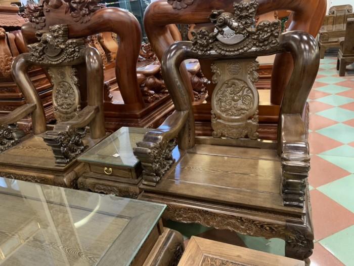 Bộ bàn ghế nghê 3 đầu gỗ mun đuôi công - tay 14 , tay 1617