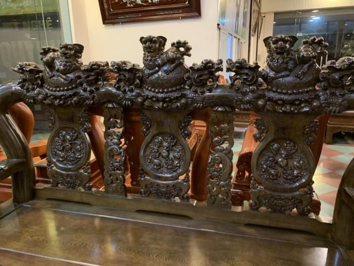 Bộ bàn ghế nghê 3 đầu gỗ mun đuôi công - tay 14 , tay 167