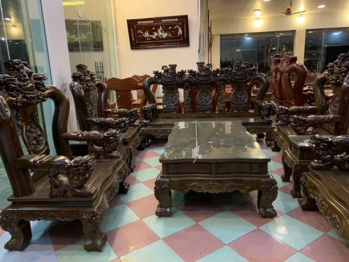 Bộ bàn ghế nghê 3 đầu gỗ mun đuôi công - tay 14 , tay 162