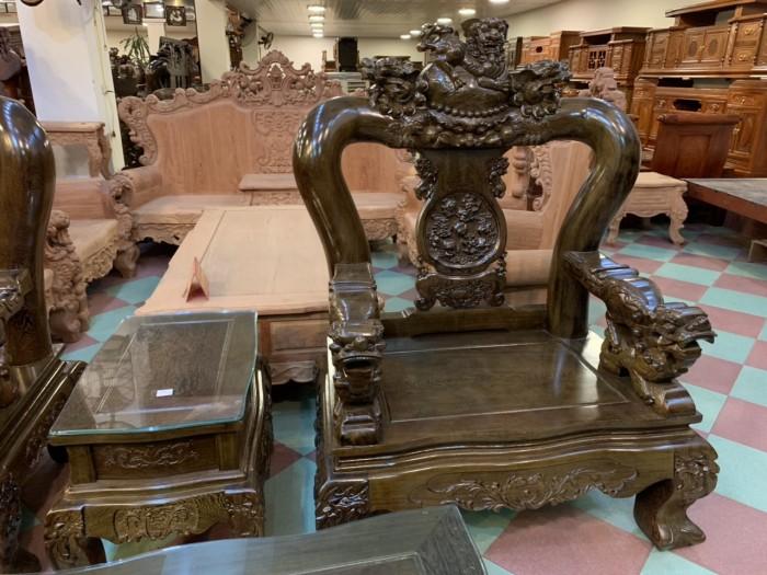 Bộ bàn ghế nghê 3 đầu gỗ mun đuôi công - tay 14 , tay 164