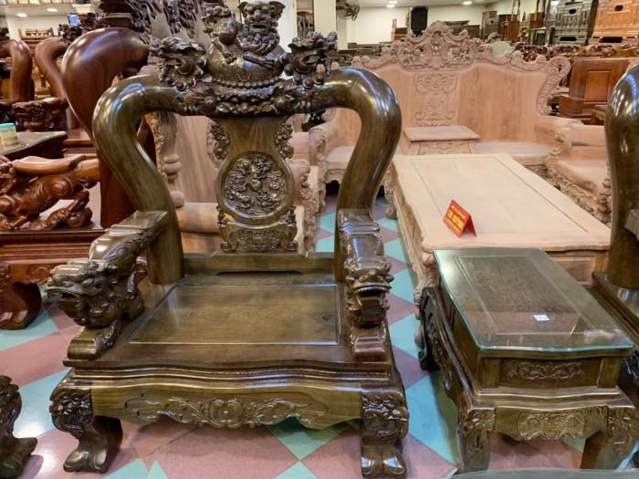 Bộ bàn ghế nghê 3 đầu gỗ mun đuôi công - tay 14 , tay 163