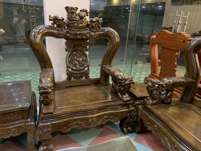 Bộ bàn ghế nghê 3 đầu gỗ mun đuôi công - tay 14 , tay 168