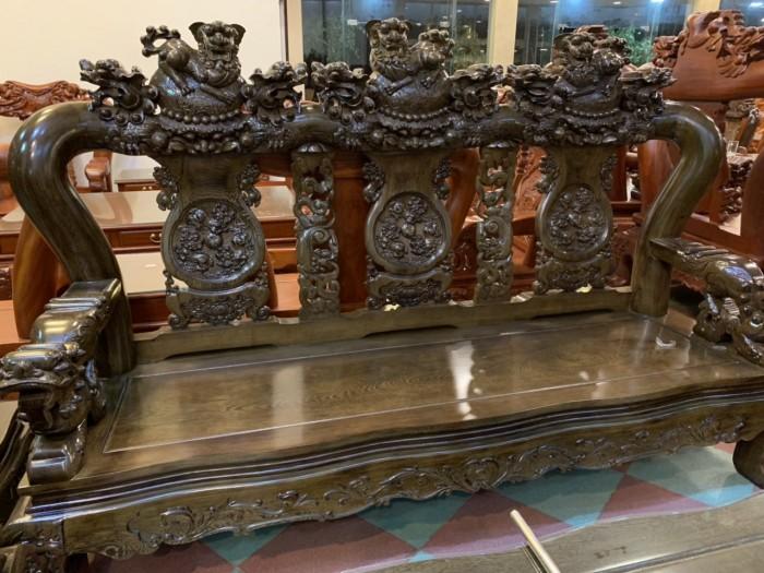 Bộ bàn ghế nghê 3 đầu gỗ mun đuôi công - tay 14 , tay 160