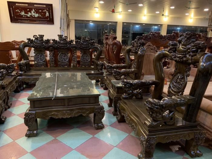 Bộ bàn ghế nghê 3 đầu gỗ mun đuôi công - tay 14 , tay 161