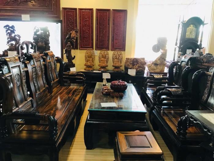 Bộ bàn ghế tần thủy hoàng gỗ mun lào3