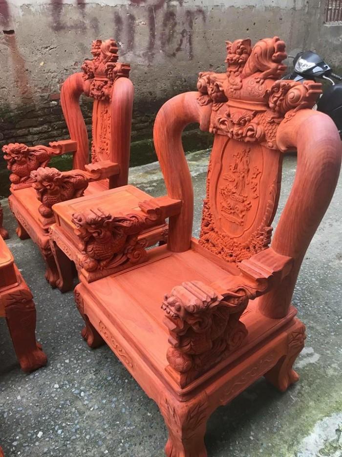 Bộ bàn ghế nghê đỉnh gỗ hương đỏ nam phi0