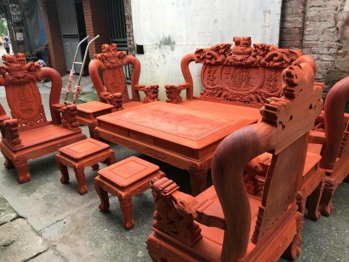 Bộ bàn ghế nghê đỉnh gỗ hương đỏ nam phi6
