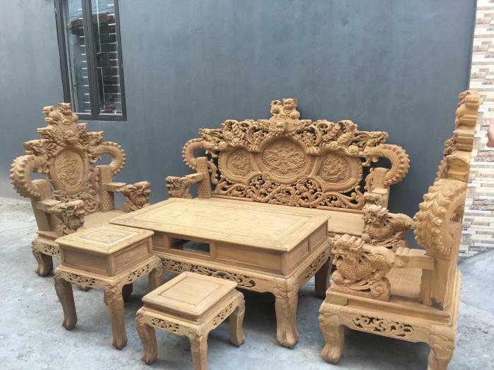 Bộ bàn ghế trạm nghê đỉnh tay khuỳnh vách chữ C gỗ cẩm vàng1