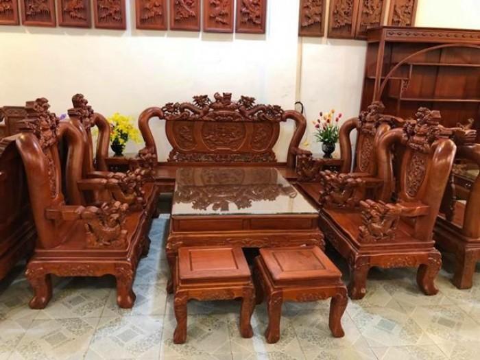 Bộ bàn ghế giả cổ nghê đỉnh gỗ hương đá16