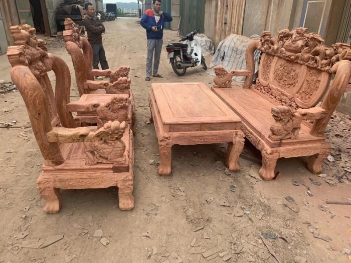 Bộ bàn ghế giả cổ nghê đỉnh gỗ hương đá11