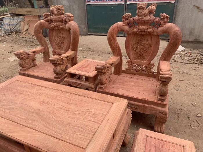 Bộ bàn ghế giả cổ nghê đỉnh gỗ hương đá15