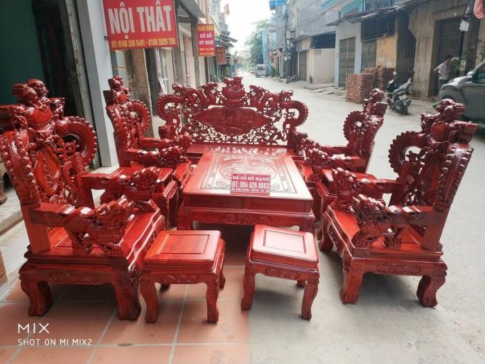 Bộ bàn ghế trạm nghê đỉnh tay khuỳnh vách bát tiên gỗ hương đỏ nam phi13