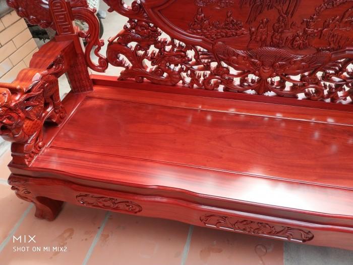 Bộ bàn ghế trạm nghê đỉnh tay khuỳnh vách bát tiên gỗ hương đỏ nam phi12