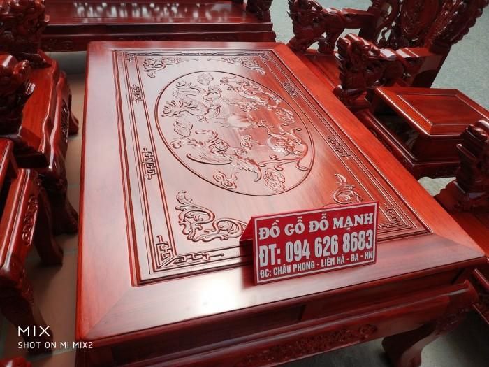 Bộ bàn ghế trạm nghê đỉnh tay khuỳnh vách bát tiên gỗ hương đỏ nam phi10