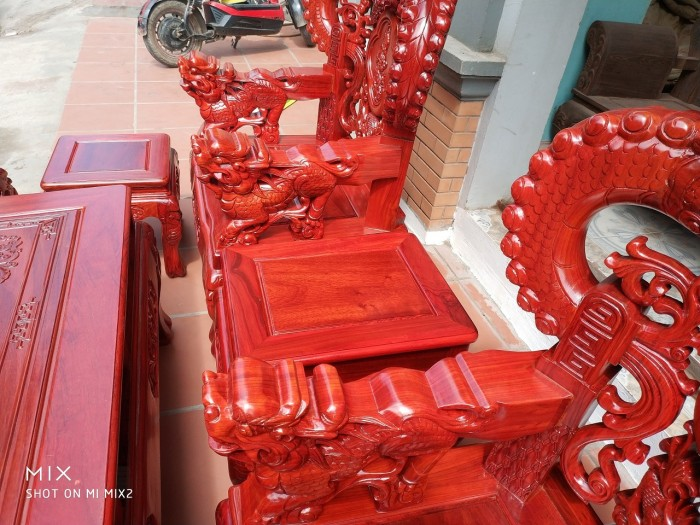 Bộ bàn ghế trạm nghê đỉnh tay khuỳnh vách bát tiên gỗ hương đỏ nam phi11
