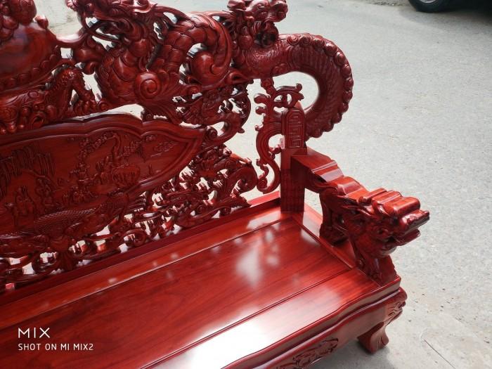 Bộ bàn ghế trạm nghê đỉnh tay khuỳnh vách bát tiên gỗ hương đỏ nam phi7