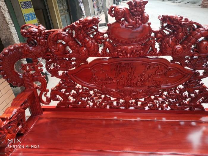 Bộ bàn ghế trạm nghê đỉnh tay khuỳnh vách bát tiên gỗ hương đỏ nam phi6