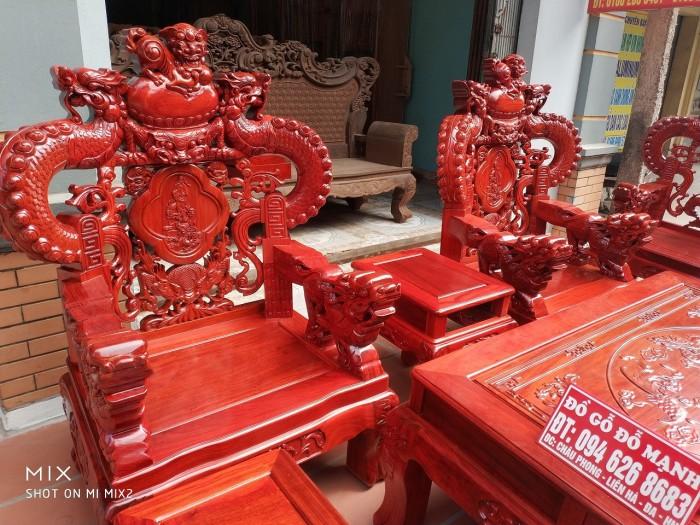 Bộ bàn ghế trạm nghê đỉnh tay khuỳnh vách bát tiên gỗ hương đỏ nam phi3
