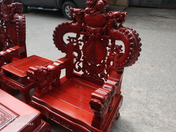 Bộ bàn ghế trạm nghê đỉnh tay khuỳnh vách bát tiên gỗ hương đỏ nam phi5