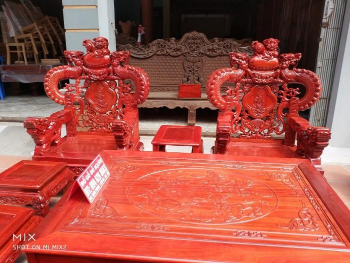 Bộ bàn ghế trạm nghê đỉnh tay khuỳnh vách bát tiên gỗ hương đỏ nam phi8