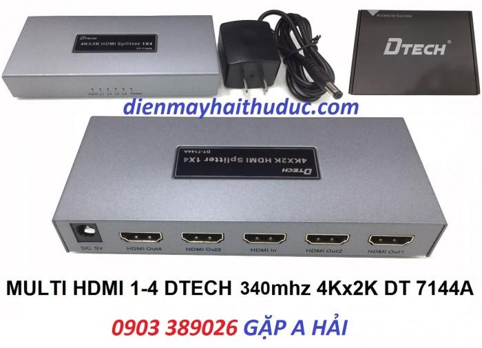 Chia HDMI 1 ra 4 DTECH DT-7144A Độ phân giải lên đến 4096 x 2160 P