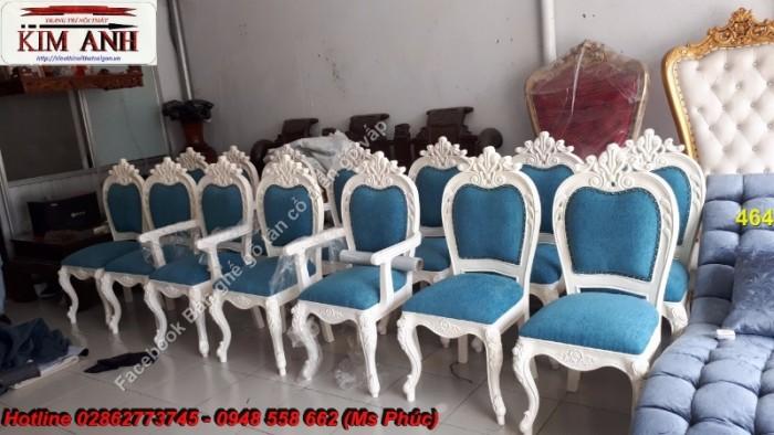 Bộ bàn ghế ăn màu trắng châu âu24