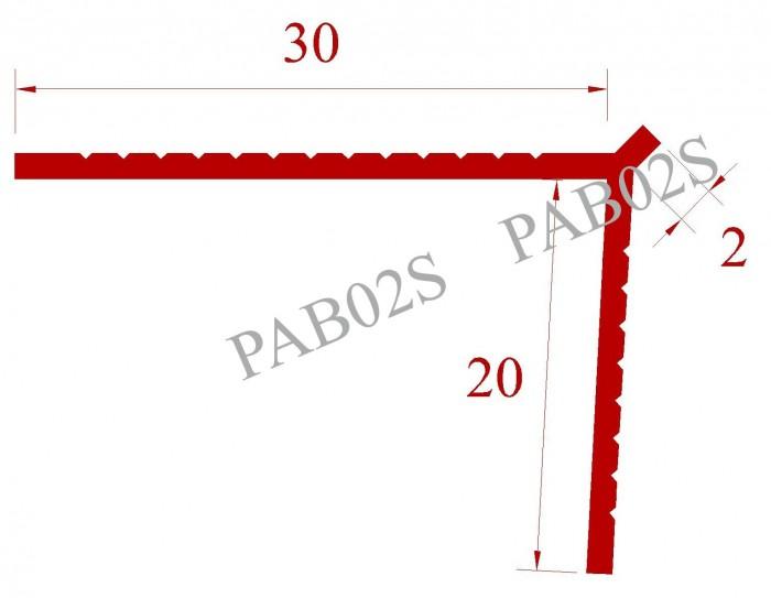 Độ dày lớp vữa tô/trát hoặc bả mastic 2mm, 2 cánh 20mm x 30mm, góc hoàn thiện sắc cạnh, màu trắng W012