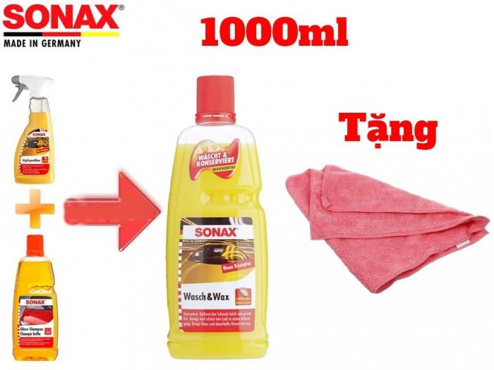 Nước Rửa Xe Đa Năng Bóng Sơn Kết Hợp Sonax Wash & Wax 313341 1000ml Tặng Khăn 6