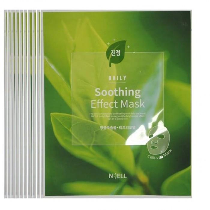 COMBO 10 Mặt nạ lụa BIO cellulose : N:( ELL (Mặt Nạ  Soothing Effect-Làm Dịu Da, trị mụn. Chiết xuất trà xanh, rau má và thảo dược dành cho Da: Da bị tổn thương, bị lão hóa và Da nhạy cảm dể nổi mụn)