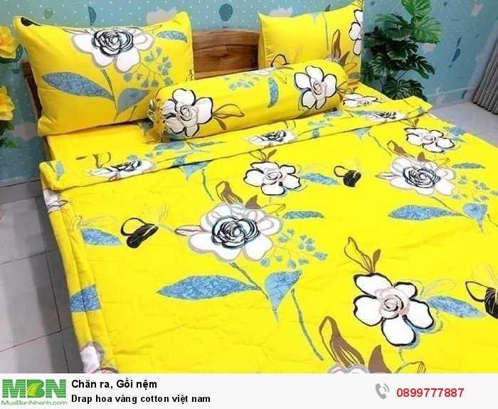 Drap hoa vàng cotton việt nam1
