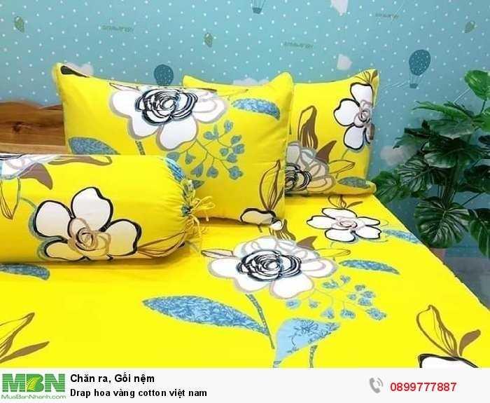 Drap hoa vàng cotton việt nam3