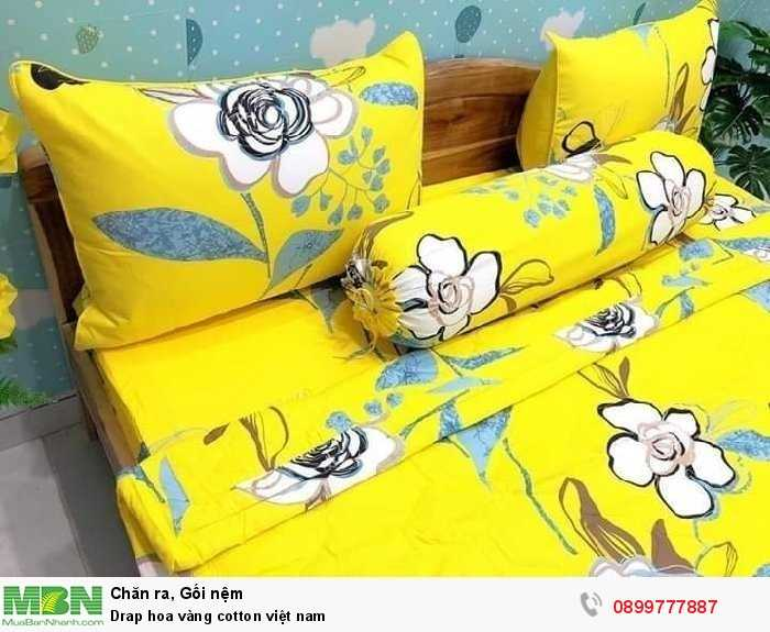 Drap hoa vàng cotton việt nam4