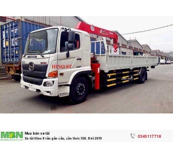 Xe tải Hino 8 tấn gắn cẩu, cần Unic 550. Đời 2019 0