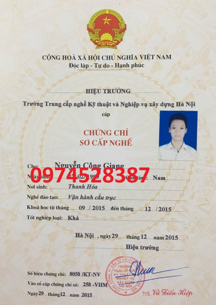 Mua chứng chỉ điện tại Hà Nội 09745283872