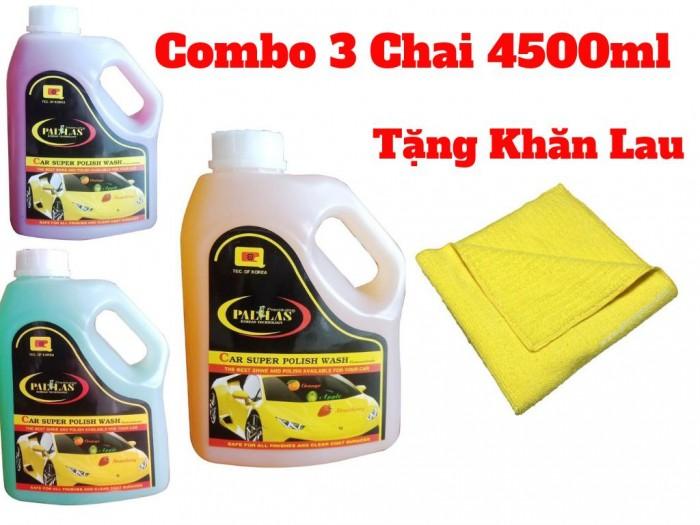 Combo 3 Bình Dung Dịch Rửa Xe Tạo Bọt Siêu Bóng Tặng Kèm Khăn 4500ml