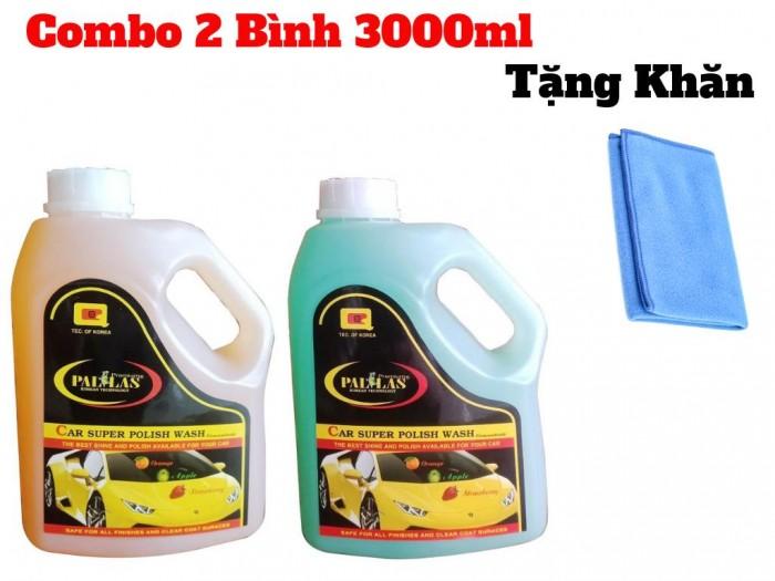 Combo 2 Bình Dung Dịch Rửa Xe Siêu Bóng 3000ml Tặng Kèm Khăn