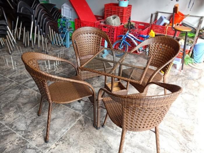 Ghế nhựa giả mây Ghế cà phê, bàn ghế cà phê, xích đu nội thất Tấn Hoàng1