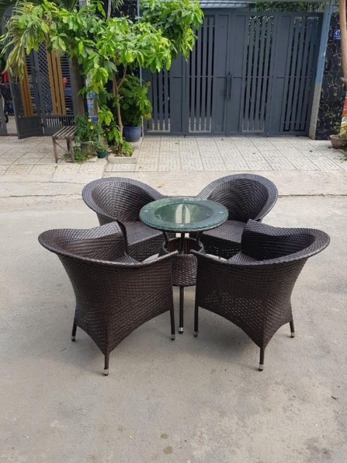 Ghế nhựa giả mây Ghế cà phê, bàn ghế cà phê, xích đu nội thất Tấn Hoàng3