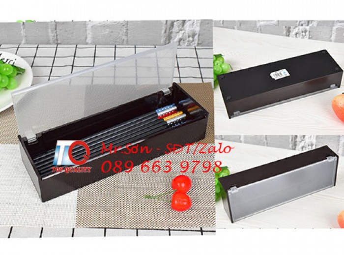Hộp đựng đũa muỗng nhật bản - hộp đũa màu đen kiểu nhật bản bằng nhựa mica tại Bình Phước1